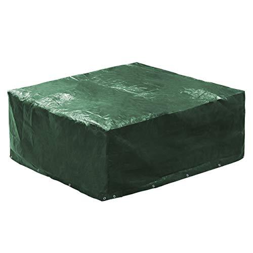 Minuma® Abdeckhaube für Gartenmöbel aus PE120 gr Material | Größe 250 x 210 x 90 cm mit 18 Metallösen für optimalen Windschutz | Die Schutzhülle ist wasserundurchlässig und reißfest | dunkelgrün