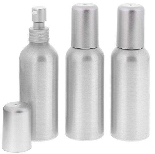 Aluminium-Flasche, Gel Lotion Spender, Pumpspender, 100ml Kosmetex, Alu bruchsicher, rund, 3× 100 ml Lotion Spender Aluminium-gelee