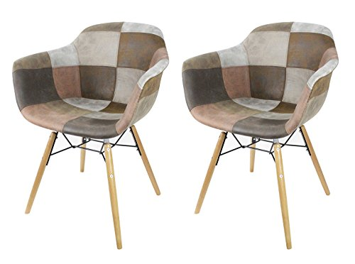 Sedie Stile Windsor : Meubletmoi set di 2 sedie patchwork talpa u2013 effetto vecchio pelle