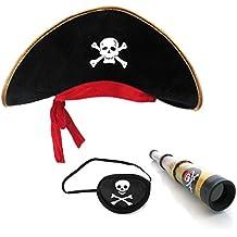 sombrero de pirata parche en el ojo telescopio de pirata para niño pequeño pirata pirata parche en el ojo del telescopio sombrero de rol