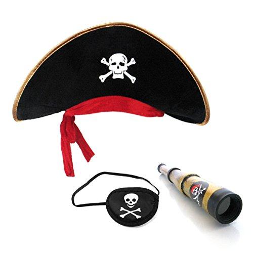Halloween Piraten Requisiten (Piratenhut + Augenklappe + Piratenfernrohr für Kind Piraten kleine Pirat Rollenspielen Hut Fernrohr eye)