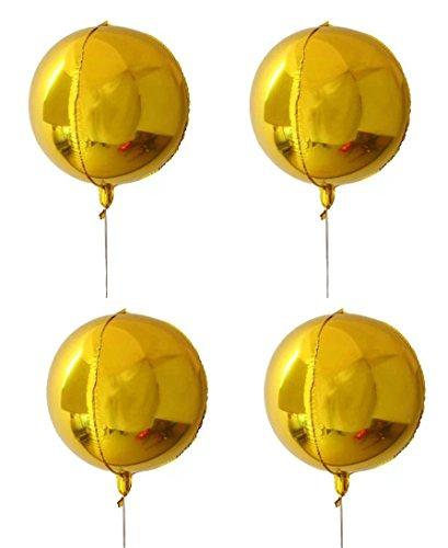 Yalulu 4 Stück 22 Zoll 4D Folienballon, Große Runden Aluminiumfolie Film Aufblasbare Ballons Luftballons Geburtstagsparty Hochzeit Baby Dusche Ehe Dekor Liefert (Gold)