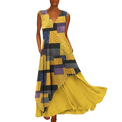 OMYGOA 2019 Damen Mode Frauen Vintage V-Ausschnitt Stitching Flower Fashion Print ärmelloses Komfort langes Kleid (XL, gelb) -
