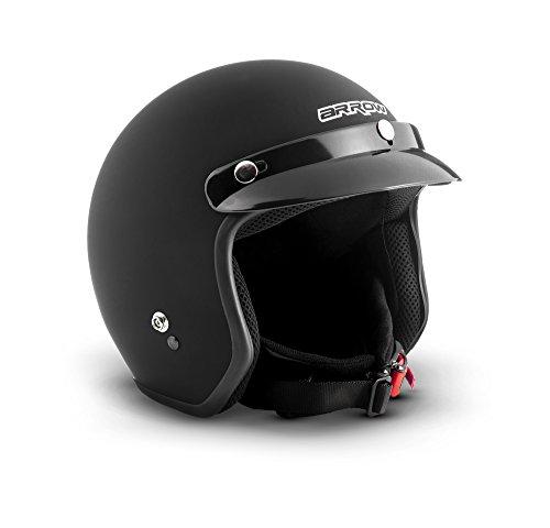 "ARMOR · AV-47 ""Black Matt"" (Schwarz) · Jet-Helm · Roller Motorrad-Helm Bobber Mofa Chopper Scooter-Helm · DOT certified · Click-n-Secure™ Clip · Tragetasche · M (57-58cm)"