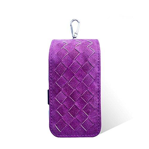 Etui/Hülle/Halter/Aufbewahrungstasche für elektronische Zigaretten E-Zigaretten iQOS mit Webmuster, aus Leder, stoßfest, violett (Elektronische Fleck)