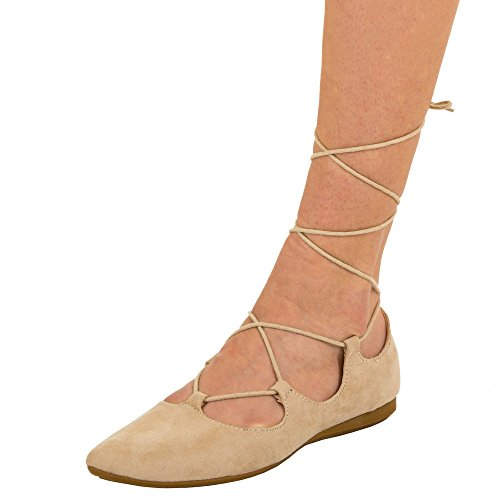 Damen Schuhe, 2325-BL, BALLERINAS GLADIATOR SANDALETTEN SCHNÜRER
