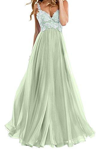 La_mia Braut Elegant Salbei Zwei-traeger Spitze Abendkleider Jugendweihe Kleider Partykleider festlichkleider A-linie Lang Rock -54 Salbei