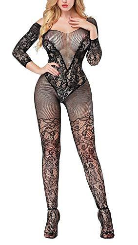 Creamlin Damen Dessous Babydoll Fischnetz Body Strümpfe Nachtwäsche Adult Lace Bodysuit (Schwarz) (Fischnetz Size Plus)