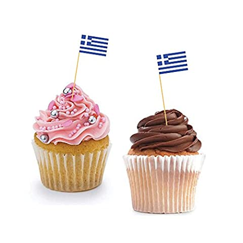 GREEK CUPCAKE FLAGS - Greece / Baking / Decoration / Decorative Cake Toppers (12)