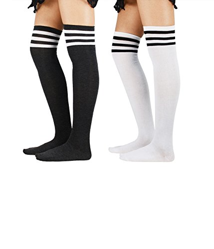 Zando Donna atleta Righe Sottili Solid coscia alti calzini sopra al ginocchio calze 2 Pairs 3 Taglia unica