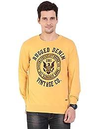 TAB91 Men's Cotton Rich Yellow Round Neck Pullover