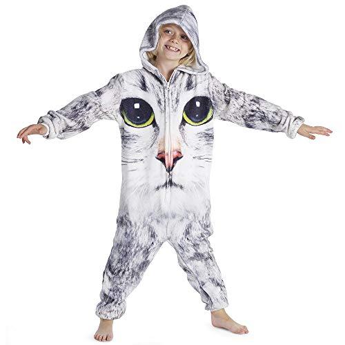 CityComfort Kinder Onesies (2-3 Jahre, Katzendruck) - 2 Stück Fleece-schlafanzug