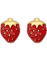 Carissima Gold 9ct Yellow Gold Red Enamel Strawberry Stud Earrings