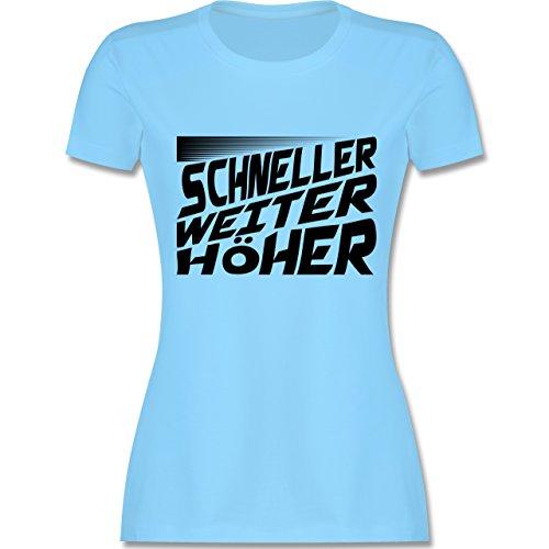 Sonstige Sportarten - Schneller, Höher, Weiter - tailliertes Premium T-Shirt mit Rundhalsausschnitt für Damen Hellblau