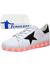 (Present:kleines Handtuch)Weiß-2 EU 40, Mädchen Turnschuhe LED Unisex Herren Sport Schuhe Licht Schuhe mode USB Farbwechsel Jungen 7 Farben Bl