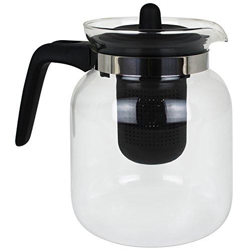 EMA CE4000020 Teekanne mit Filter, Transparent/Schwarz, 1,5l - Hitzebeständiges Glas Teekanne
