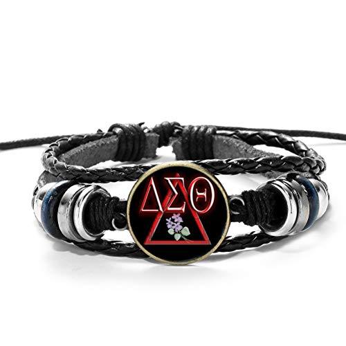MHOOOA Punk Design Delta Sigma Theta Symbol Serie Schmuck Armbänder Handgemachte Seil Webart Vintage Glas Cabochon Lederarmband -