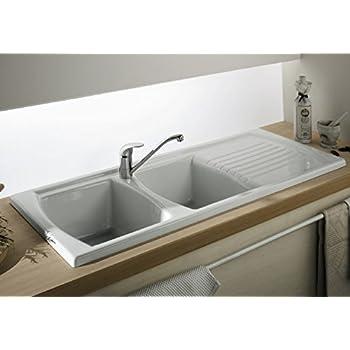 Double Bowl Double Drainer Ceramic Sink Amazon Co Uk