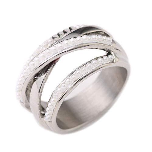 QINGZHOUQI Promise Ring for Frauen Kreuz Titan Stahl verziert mit Perlen Ring Modeschmuck (Color : C, Größe : 7#) (7 Ringe Pearl Größe)