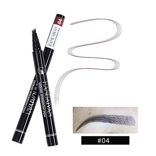 ASKSA Tattoo Augenbrauenstift, Liquid 4 Spitzenpinsel 3D Eyebrow Pen Brow Gel für Augenbrauen Make-up, Wasserdicht, Wischfest (04)