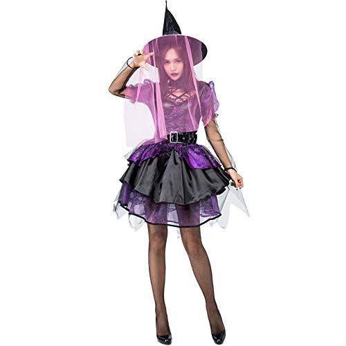 Yunfeng Hexenkostüm Damen Halloween Hexe Spiel Kostüm Hexe kostüm lila aufgedunsen Rock-Hexen (Hexe Spiele Für Halloween)