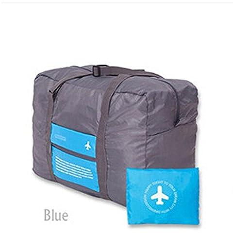La nueva manera impermeable del deporte del recorrido del bolso de la capacidad grande del bolso de tela Oxford que dobla el bolso unisex equipaje de viaje bolsos, Azul