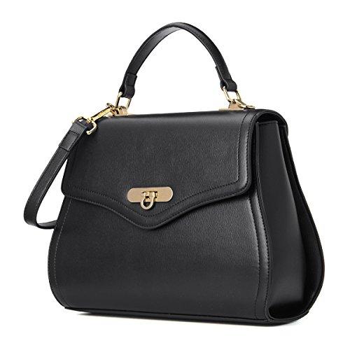 Kadell Frauen Leder Handtaschen Shell Form Top Griff Geldbörse mit abnehmbarem Armband Black -