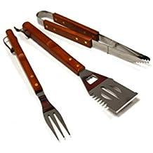 Set di 3accessori da barbecue di qualità, attrezzi con manico in legno, per uso esterno con barbecue a gas o a carbone