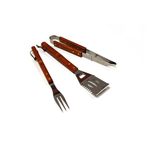 Set de 3herramientas de barbacoa accesorios: mango de madera de calidad para uso en exteriores con funciona con Gas o barbacoa de carbón vegetal