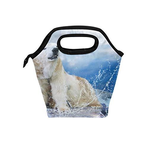 Zhengzho Lunchpaket Jäger des weißen Eisbären Isolierte Thermal Lunch Kühltasche Tote Bento Box Handtasche Lunchbox mit Reißverschluss für Schulbüro Picknick
