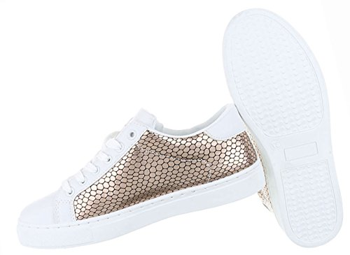 Damen Schuhe Freizeitschuhe Sneakers Turnschuhe Sportschuhe Schwarz Weiss Bronze