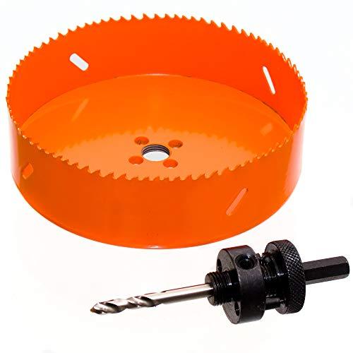 HSS Bi-Metall Lochsäge Ø 200 mm mit Adapter für INOX, Holz, Regipsplatten, Kunststoff, Metall