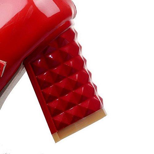 VogueZone009 Damen Schnalle Mittler Absatz Pu Leder Rein Quadratisch Zehe Pumps Schuhe Rot