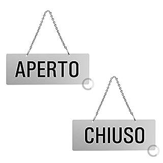MARKIN Schild Aperto (Geöffnet) / Chiuso (Geschlossen), 17,5 x 6,5 cm, mit Kette.