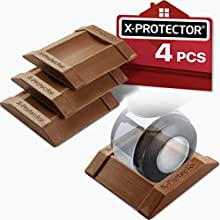 X-PROTECTOR Premium Furniture Cups 4 PCS. Rubber Caster Cups Furniture Coasters – Floor Protectors for All Floors & Wheels. Protect Your Floors & Stop Furniture with Ideal Bed Stoppers!