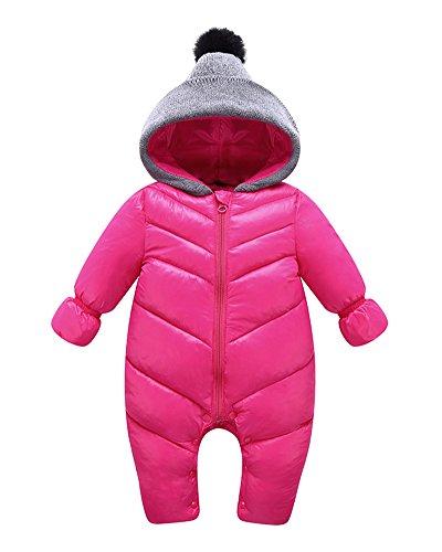 Ropa de Una Pieza Prenda Exterior Chaqueta de Cremallera con Capucha Enterizo Jumpsuit para Invierno Bebés Niños Niñas Rose 90