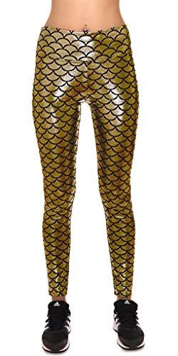 9ec5517d93 Sirena De La Mujer Escala De Estiramiento Brillo Único Pescado Suave Leggings  Color Sólido Estiramiento Slim