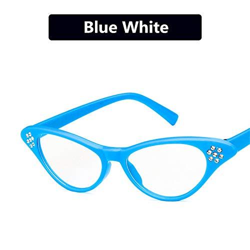 YUHANGH Mode Cat Eye Flat Mirror Damen Diamond Top Brillengestell Pflaumenförmiger Brillengestell