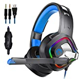 Z&HA Gaming Headset für PS4 Xbox One, Gaming Kopfhörer Over Ear Headphone mit LED Light Stereo Sound rein Bass Mikrofon für Playstation 4 Switch PC Computer Laptop Tablet Mac