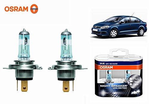 Osram H4 6000k Car Night Breaker Unlimited Headlight Bulbs -Volkswagen Vento