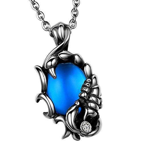 Oidea Herren Halskette mit Anhänger, Edelstahl Biker Skorpion Anhänger mit 55cm Kette Halskette Halsband, Schwarz Silber Blau