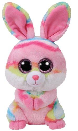 TY 37258 Lollipop, Hase Pink/Farbig 24cm, mit Glitzeraugen, Beanie Boo's, Ostern Limitiert (Große Beanie Boo Runde)