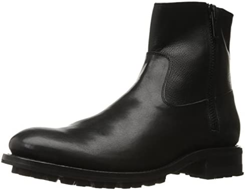 FRYE Men's Stanton Outside Zip Motorcycle Boot, Black, 12 D US