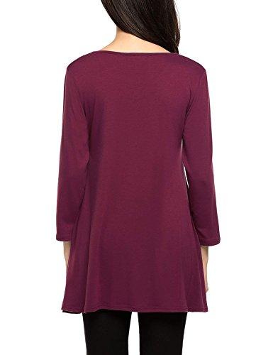 Elesol Damen Shirt Langarm Asymmetrisch Design Top V-Ausschnitt Lässig T-shirt Freizeit Loose Fit Bluse Casual Bluse Top mit Knopf Weinrot