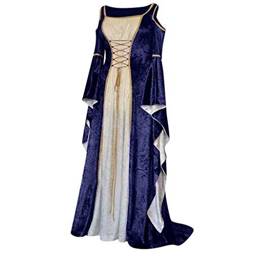 Damen Langarm Mittelalter Kleid Gothic Retro Kleid Renaissance Cosplay Kostüm Prinzessin Kleid Lange Abendkleid Gebunden Taille Maxikleid Übergröße Kleid Weihnachts Karneval (Übergröße Dorothy Kostüm)