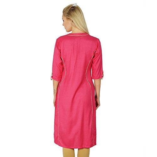 Bimba Style Chic Kurti Solid Color Top Tunique Boho manches 3/4 Blouse ne Rose