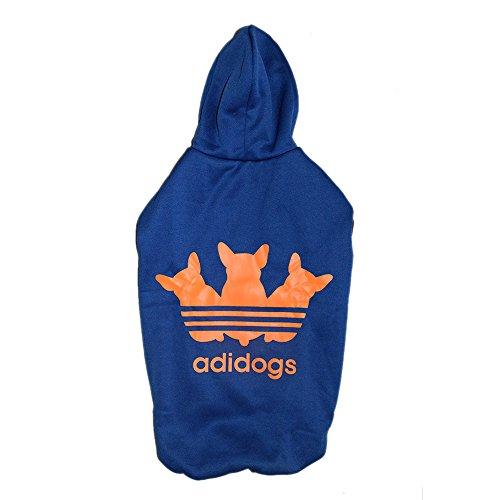 Pawzone Adidog blue & orangeTrendy Dog Hoodie - Size 28
