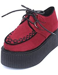 ZQ 2016 Zapatos de mujer - Plataforma - Comfort / Punta Redonda / Punta Cerrada - Oxfords - Exterior / Casual - Semicuero - Negro / Bermellón , black-us6 / eu36 / uk4 / cn36 , black-us6 / eu36 / uk4 / cn36