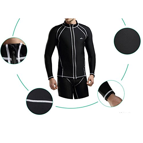 Linyuan Outdoor Men's Sun Protection Swimsuit Long Sleeve Surfing Diving Suit Swimwear Black