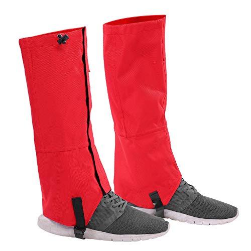 Tbest Outdoor Gamaschen 1 Paar wasserdichte Gamaschen Schneesichere Leg Gaiters Snow Gaiters Leichte atmungsaktive Gamaschen für Damen/Herren zum Wandern, Klettern, Jagd-Trimmen(Rot)